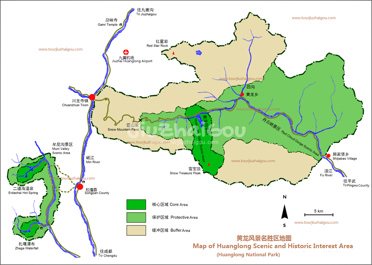 Map of Huanglong Scenic and Historic Interest Area