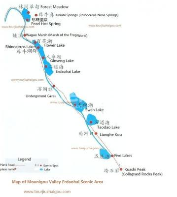 Map of Mounigou Valley Erdaohai Scenic Area