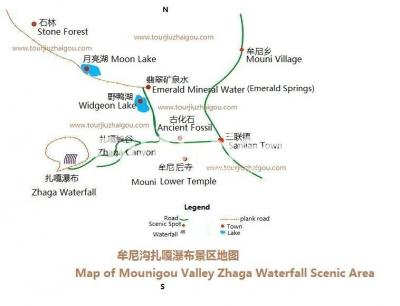 Map of Mounigou Valley Zhaga Waterfall Scenic Area