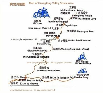 Map of Huanglong Valley Scenic Area