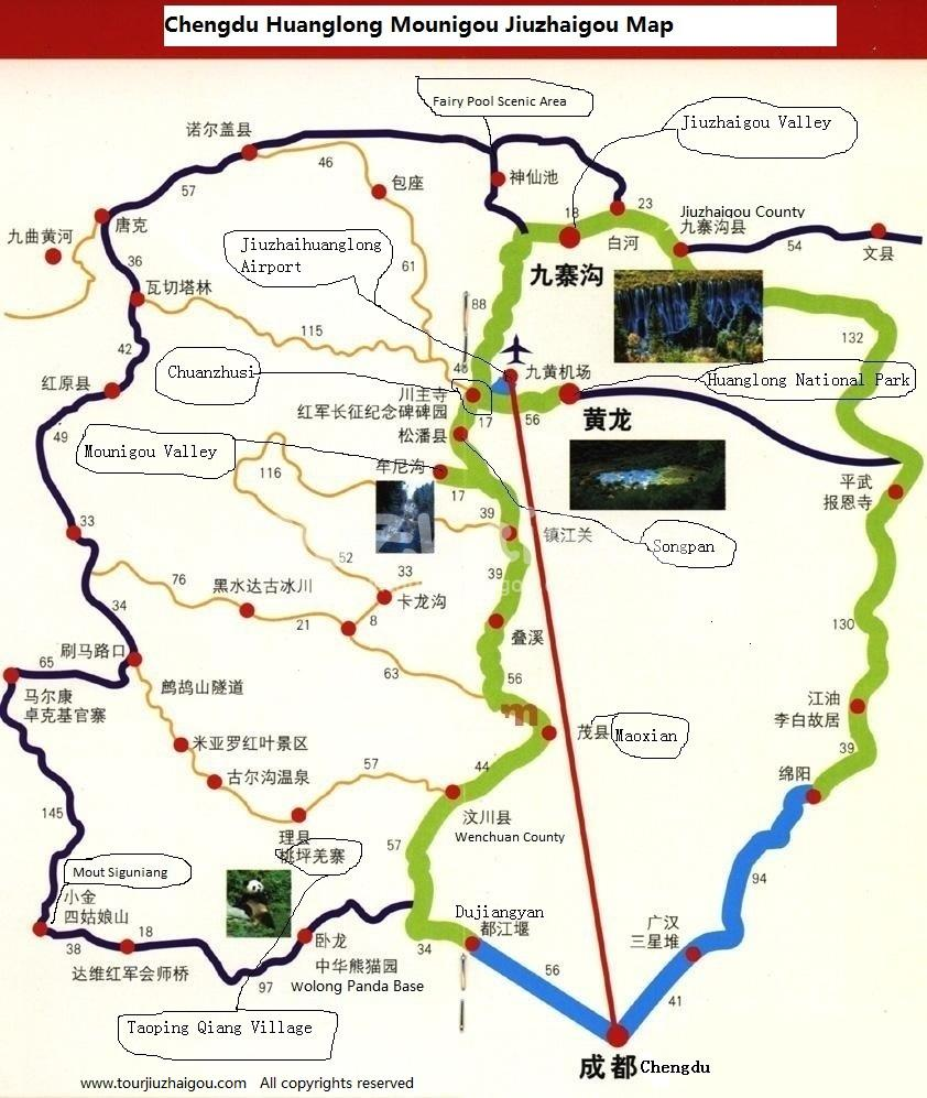Chengdu Huanglong Mounigou Jiuzhaigou Map