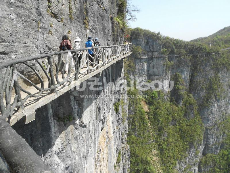 Plank Road Built along a Cliff in Tianmen Mountain